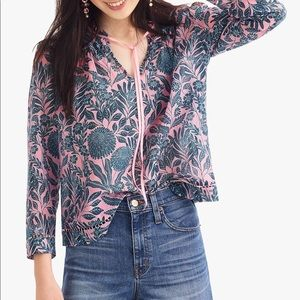J Crew x Abigail Borg | Cotton Silk Peasant Top